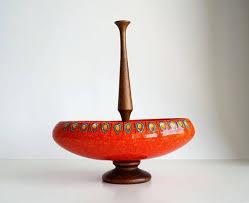 Red Vases And Bowls 60s Fruit Bowl Vase Vintage Ceramic Red Screziato Modernist Bowl