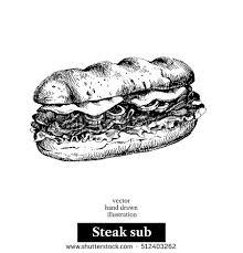 hand drawn sketch steak sub sandwich stock vector 512403262