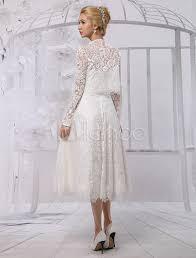 a line tea length lace wedding dress with long sleeve bolero wrap