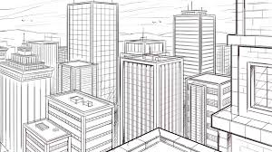 how to draw a city in two point perspective sketch by