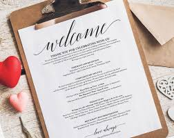 wedding itinerary wedding itinerary welcome sheet from bliss paper boutique