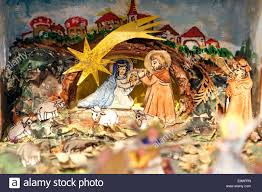 traditional czech christmas nativity scene made of paper scenes