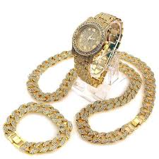 cuban chain bracelet images Diamond watch iced out cuban chain and bracelet set hip hop bright jpg