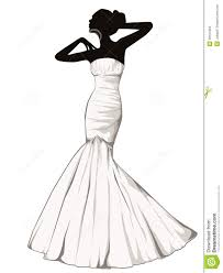 Design A Wedding Dress Silhouette Of Elegant In A Wedding Dress Stock Illustration