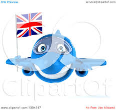 clipart of a 3d blue airplane flying with a british flag royalty