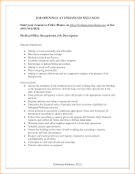 Dental Front Office Resume Sample Receptionist Duties Resume Resume For Your Job Application