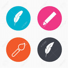 circle buttons feather retro pen icons paint brush and pencil