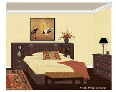 Headboard Bookshelves by Contemporary Bedroom With Plum Blossom By Degournay Wallcovering