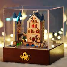 diy carousel castle dollhouse miniature handcraft kit gifts