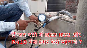 how to identify split ac gas pressure for r22 r32 and r410 hindi