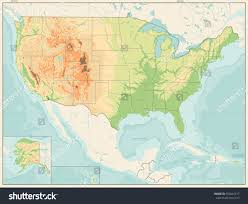 Map Of Usa With Hawaii by Detailed Relief Map Usa Retro Color Stock Vector 550447417