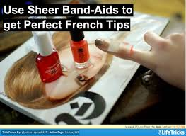 nails use sheer band aids to get perfect french tips nails