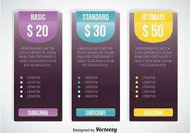 pricing table template vector download free vector art stock