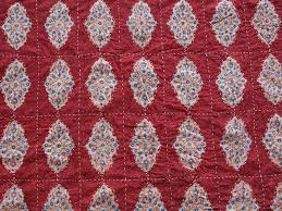 Moroccan Coverlet Red Orange Hand Quilted Coverlet Moroccan Coverlet India Quilted