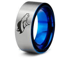 denver wedding band denver broncos blue tungsten wedding band ring brushed pipe cut