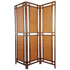 large mid century modern carved wood screen privacy room divider