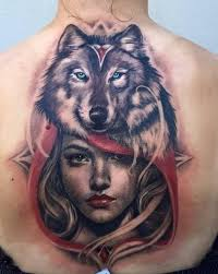 amazing wolf on back for tattoos