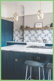 are blue cabinets trendy blue geometric kitchen by sustainable kitchens
