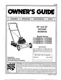 mtd lawn mower 113 040a000 thru 113 042d000 user guide