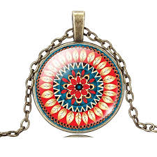 art glass necklace pendant images Mandala flower art glass necklace the enchanted forest jpg