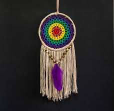 Rainbow Home Decor by Dream Catcher Rainbow Crochet Wall Hanging Home Decor Ornament