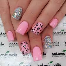glitter pink and leopard nails leopards leopard