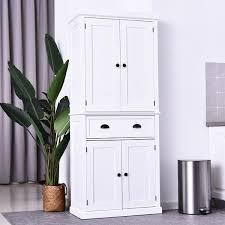 homcom kitchen pantry cupboard wooden storage cabinet organizer shelf white homcom 72 inch traditional freestanding kitchen cupboard