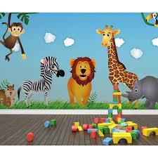 cartoon cute art animals lion zebra 3d livingroom mural rolls for