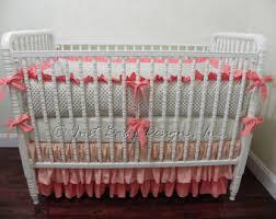 Beige Crib Bedding Set Coral Crib Bedding Etsy