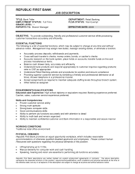 Banking Job Resume by Teller Job Duties For Resume Resume Examples 2017