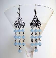 Bohemian Glass Chandelier Chandelier Earrings Gunmetal Tone Earrings With Sky Blue Glass