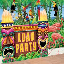 luau party hawaiian luau tropical tiki bar wall decorating backdrop party