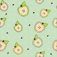 seamless background with cartoon apple halves vector clipart image