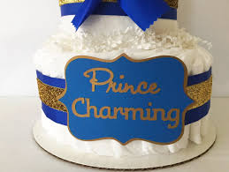 prince charming diaper cake in royal blue and gold prince theme