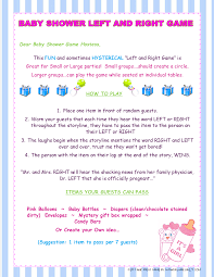 left and right baby shower game