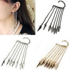 stylish earrings 2018 trendy girl stylish rock rivet chain tassel dangle ear