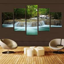 living room canvas 5 pcs waterfall painting canvas wall art picture home decoration