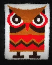 Hook Latch Rugs Vintage 60s 70s Mod Owl Rug Wall Hanging Art Wall By Elliemayhems