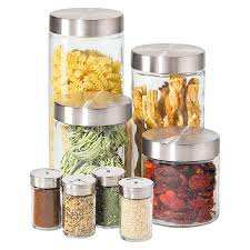 clear glass canisters for kitchen oggi 8 piece round airtight glass canister and spice jar set with