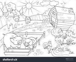 farm animal coloring book farm animals rural landscape coloring book stock vector 568228987