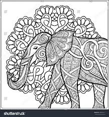 coloring page elephant decorative mandala frame stock vector