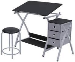 Metal Drafting Table Drafting Table Stool Drawing Desk Drawers Storage Shelf Adjustable