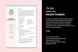 cv template word total jobs babysitter resume template by elissa bernandes on creativemarket