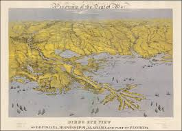 Florida Coast Map Dramatic Civil War Bird U0027s Eye View Of The Gulf Coast Rare
