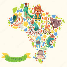 World Map Of Africa by Map Of Africa With Cute Animals In Vector U2014 Stock Vector