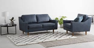 Dallas  Seater Sofa Charm Midnight Premium Leather Madecom - Sofa in leather