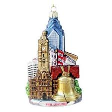 kurt adler c4109 philadelphia glass cityscape ornament