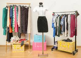 Wardrobe Clothing White Shirt With Bowtie And A Black Skirt On A Mannequin Colorful