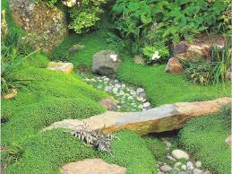 natural looking stone bridge spans miniature dry creek bed