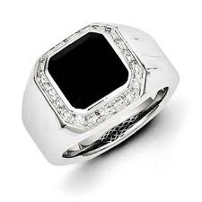 mens black engagement rings s black onyx 1 15 carat ring in sterling silver